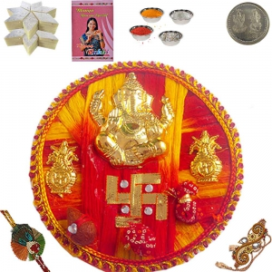 Sending Latest Rakhi Pooja Thali Gift for Brother 108