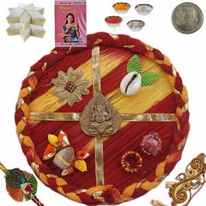 Send Ethnic Rakhi Thali n 400Gm Kaju Katli Sweet 113