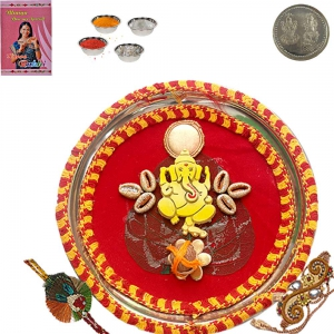 Send to Brother Rajasthani Rakhi Pooja Thali Gift 116