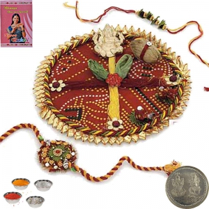 Send Beautiful Jaipuri Designer Rakhi Pooja Thali 118