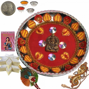 Traditional Artwork Pooja Thali n 200Gm Kaju Katli 120