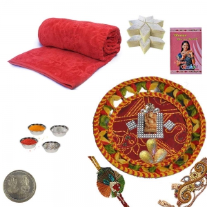 Soft Single Bed Blanket n Fancy Rakhi Pooja Thali 128