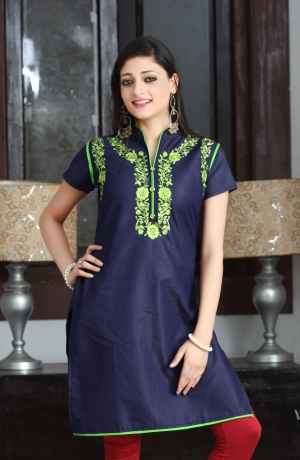 Shubham Fashions Navy Blue Cotton Kurti Navy Blue Cotton Kurti KT-1001