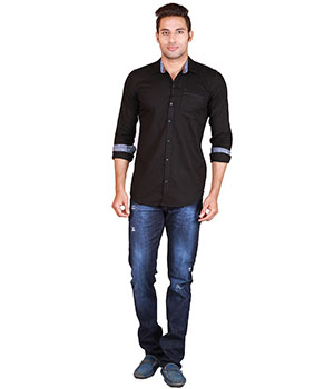 Alamurit Black Cotton Blend Slim Fit Casual Shirt For Mens ALA014