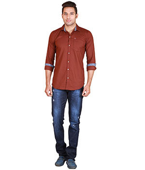 Alamurit Brown Cotton Blend Slim Fit Casual Shirt For Mens ALA015