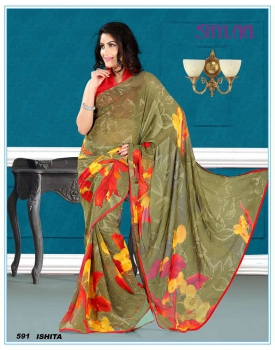 Ajashopping Attractive Fancy Print Sarees AS-591