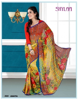 Ajashopping Ultimate Yellow Fancy Print Sarees AS-595