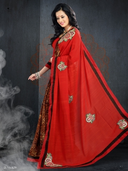 Ajashopping Outstanding Red With Embroidery Patch And Stone Sarees AS-629