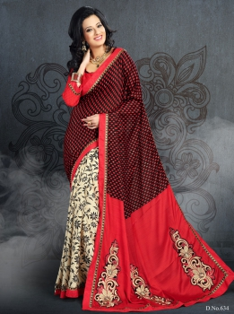 Ajashopping Graceful Moss With Fancy Print Sarees AS-634