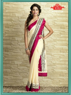 Indian Beautiful Party Wear Chiffon Saree With Dupain Blouse ET-9392