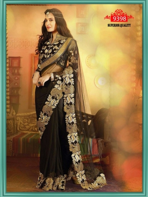 Indian Beautiful Party Wear Net Saree With Dupain Blouse ET-9398