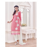 Shoponbit Chanderi Banglori Georgeous Pink White Color Straight Cut Salwar Suit SHMY-09