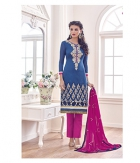 Shoponbit Latest Blue Pink Color Straight Cut Salwar Suit SHMY-12