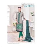 Shoponbit Chanderi Banglori Grey Green Color Straight Cut Salwar Suit SHMY-20