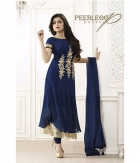 Shoponbit Georgette Beautiful Dark Blue Semi-Stitched Anarkali Suit SHLT-35826