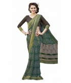 Swaraaa Green Faux Georgette Printed Saree With Unstiched Blouse