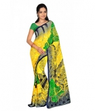 Swaraaa Yellow Weightless Georgettre Printed Saree With Unstiched Blouse