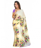 Swaraaa Off White Weightless Georgettre Printed Saree With Unstiched Blouse