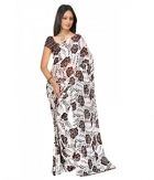 Swaraaa White Weightless Georgette Printed Saree With Unstiched Blouse