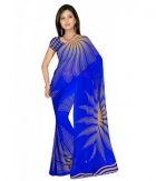 Swaraaa Blue Weightless Georgettre Printed Saree With Unstiched Blouse