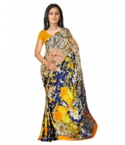 Swaraaa Beige Weightless Georgette Printed Saree With Unstiched Blouse