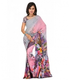 Swaraaa Grey Weightless Georgette Printed Saree With Unstiched Blouse