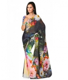 Swaraaa Black Weightless Georgettre Printed Saree With Unstiched Blouse