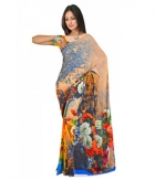 Swaraaa Multi Colour Weightless Georgette Printed Saree Unstiched Blouse
