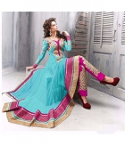 Shoponbit New Sky Blue And Pink Long Semi- Stitched Anarkali Suit  SHJC-Sky Blue