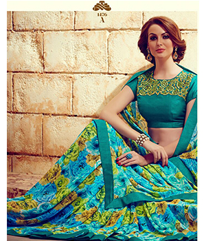 Shoponbit Lovely Teal Color Blouse Printed Saree SHRM-1476A