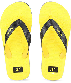 Sparx SFG-2029 Yellow Black Slipper  SFG-2029-YLW-BLK