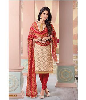 470849b3e3 Buy Shoponbit Cream And Red Color Multi Designing Salwar Suit | Cheer  Shopping