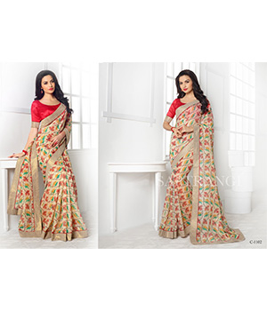 Shoponbit Beautiful Less Border Blouse Printed Saree SHSR-1102