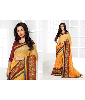 Shoponbit Newest Beautiful Yellow Colour Multi Border Printed Saree SHSR-1110