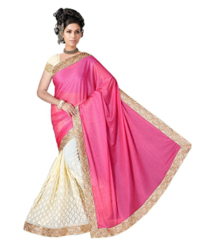 Swaraaa Half Lycra Half Georgette Saree With Codding Work Border Lace With Unstiched Blouse