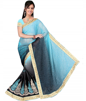 Swaraaa Blue Half Lycra Half Georgette Saree With Codding Work Border Lace With Unstiched Blouse