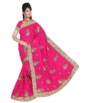 Swaraaa Rani Georgette Embrodeiry And Diamond Work Saree With Border Lace And Unstiched Blouse