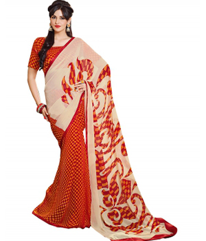 Swaraaa Red Georgette Printed Saree With Sartin Border And Gerogeete Blouse