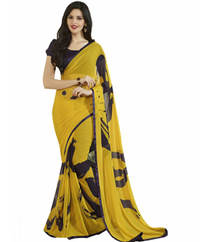 Swaraaa Yellow Georgette Printed Saree With Sartin Border And Gerogeete Blouse