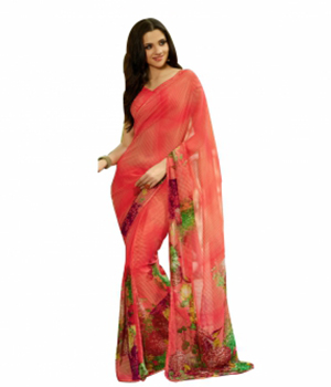 Swaraaa Red Georgette Printed Saree With Pipeen Border With Georgette Blouse