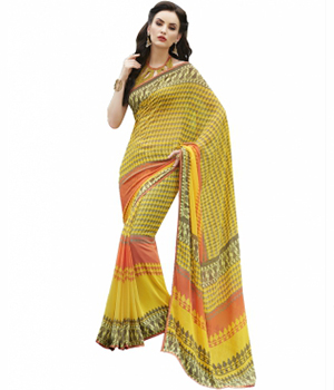 Swaraaa Yellow Georgette Printed Saree With Patti Border And Georgette Blouse