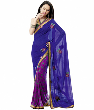 Swaraaa Blue Georgette Printed Saree With Dhupian Border With Georgette Blouse