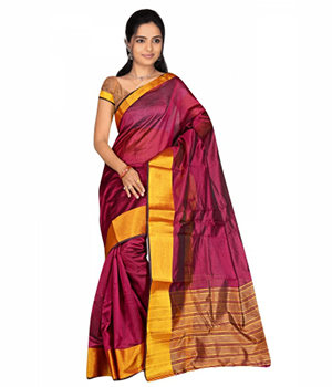 Swaraaa Brown Monika Cotton Silk Saree With Unstiched Blouse