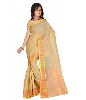 Swaraaa Chiku Cotton Silk Saree With Unstiched Blouse