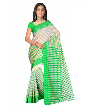 Swaraaa Green Tissue Silk Saree With Unstiched Blouse