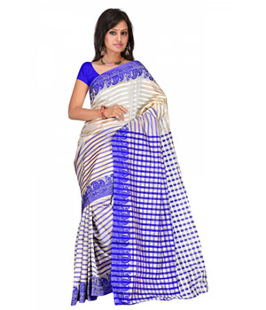 Swaraaa Blue Tissue Silk Saree With Unstiched Blouse