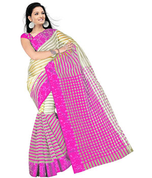 Swaraaa Pink Tissue Silk Saree With Unstiched Blouse