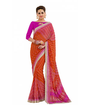Swaraaa Orange Georgette Printed Saree With Readymade Border With Georgette Blouse