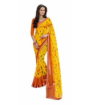 Swaraaa Yellow Georgette Printed Saree With Readymade Border With Georgette Blouse