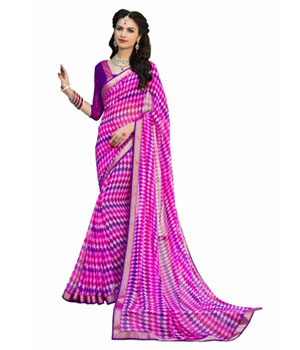 Swaraaa Pink Georgette Printed Saree With Readymade Border With Georgette Blouse